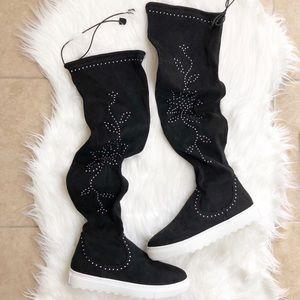 New J/Slides Knee High studded sock sneaker boots